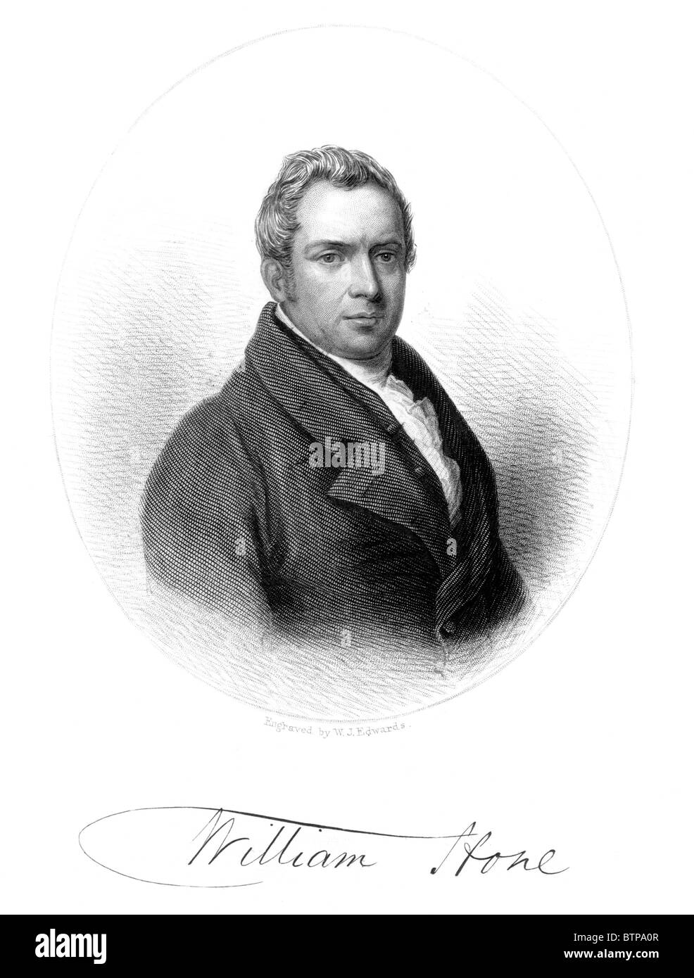 Portrait of William Hone, 19th century political satirist and writer; Black and White Illustration; Stock Photo