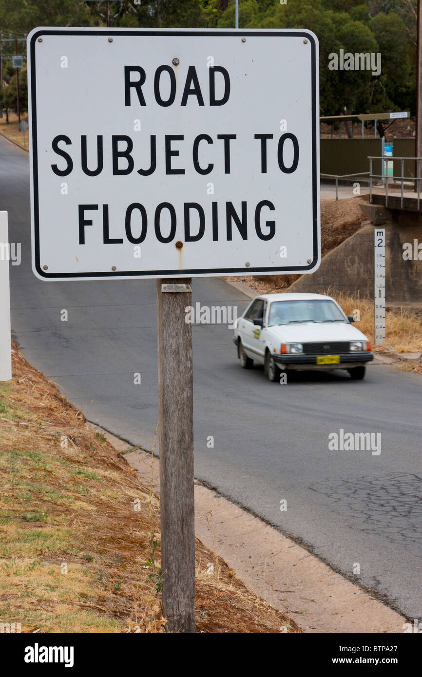 Australia, South Australia, Clare Valley, Clare, Road sign with car in background Stock Photo