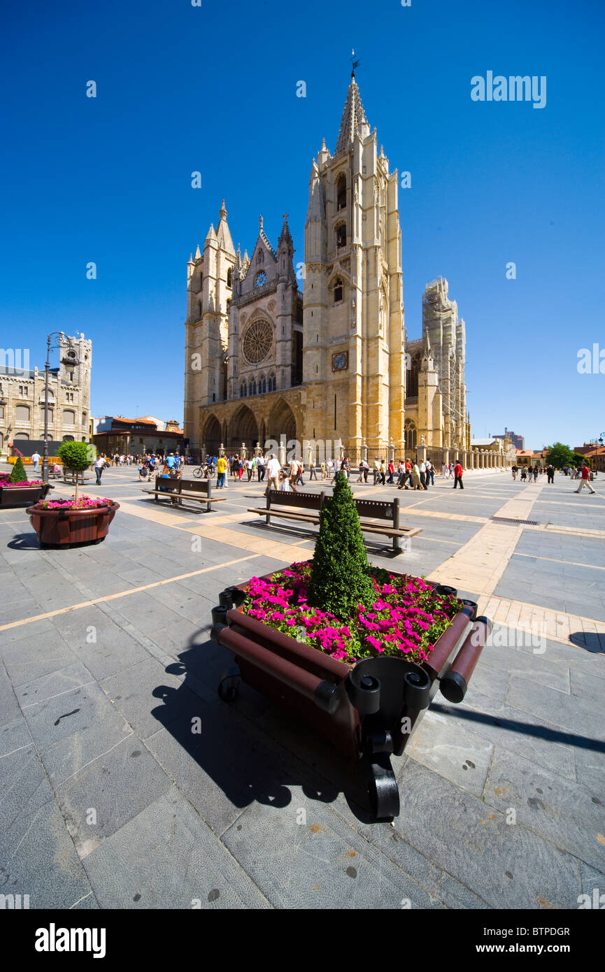 Leon Cathedral, Leon, Spain - Stock Image