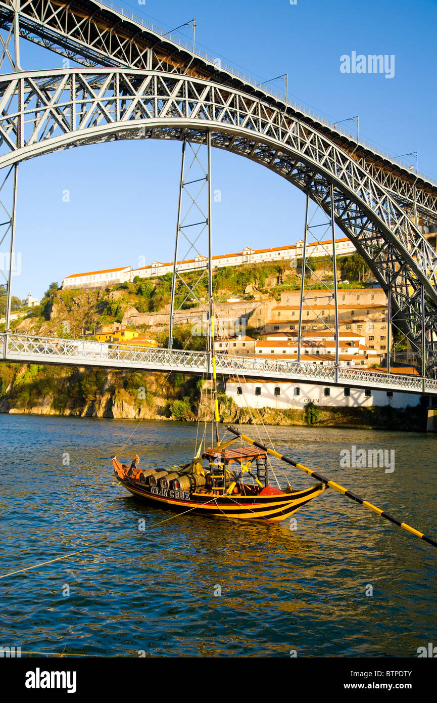 Port Barge, Douro River, Porto, Portugal - Stock Image