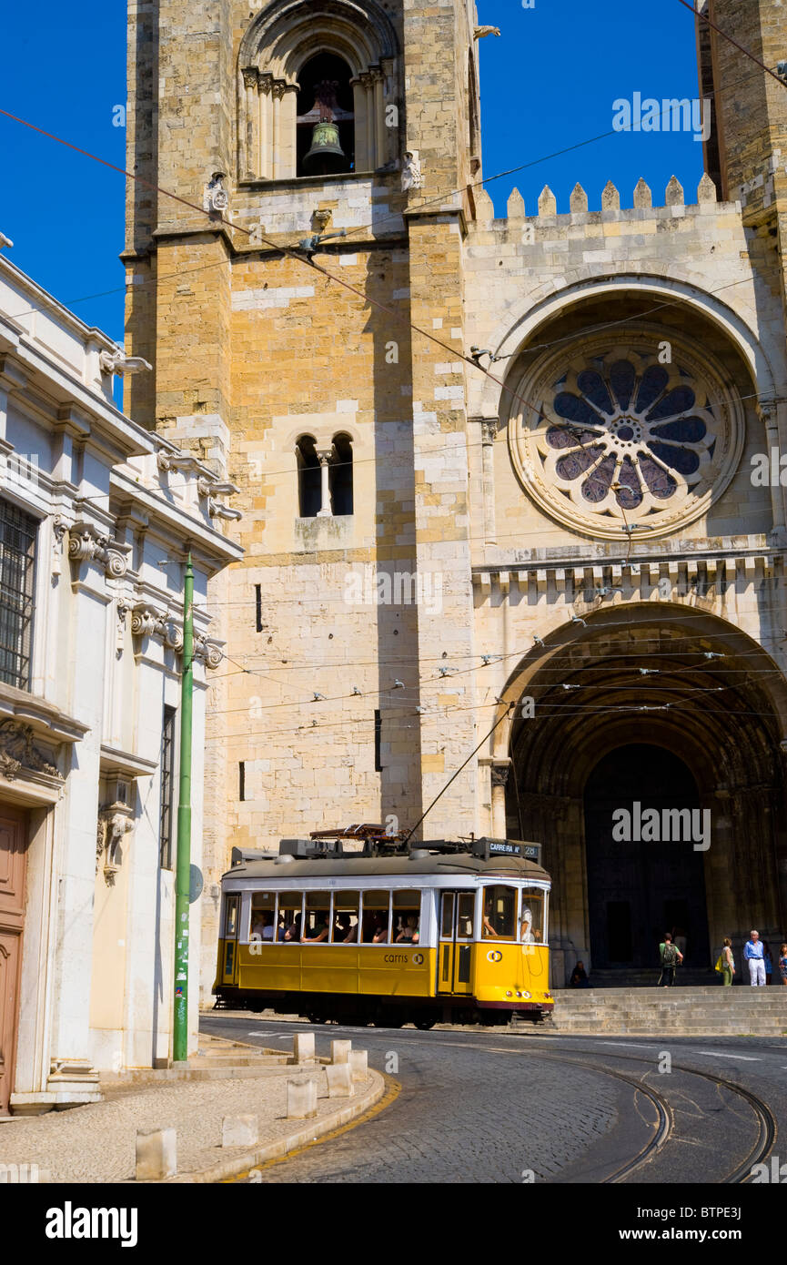 Tram, Se Cathedral, Lisbon, Portugal Stock Photo