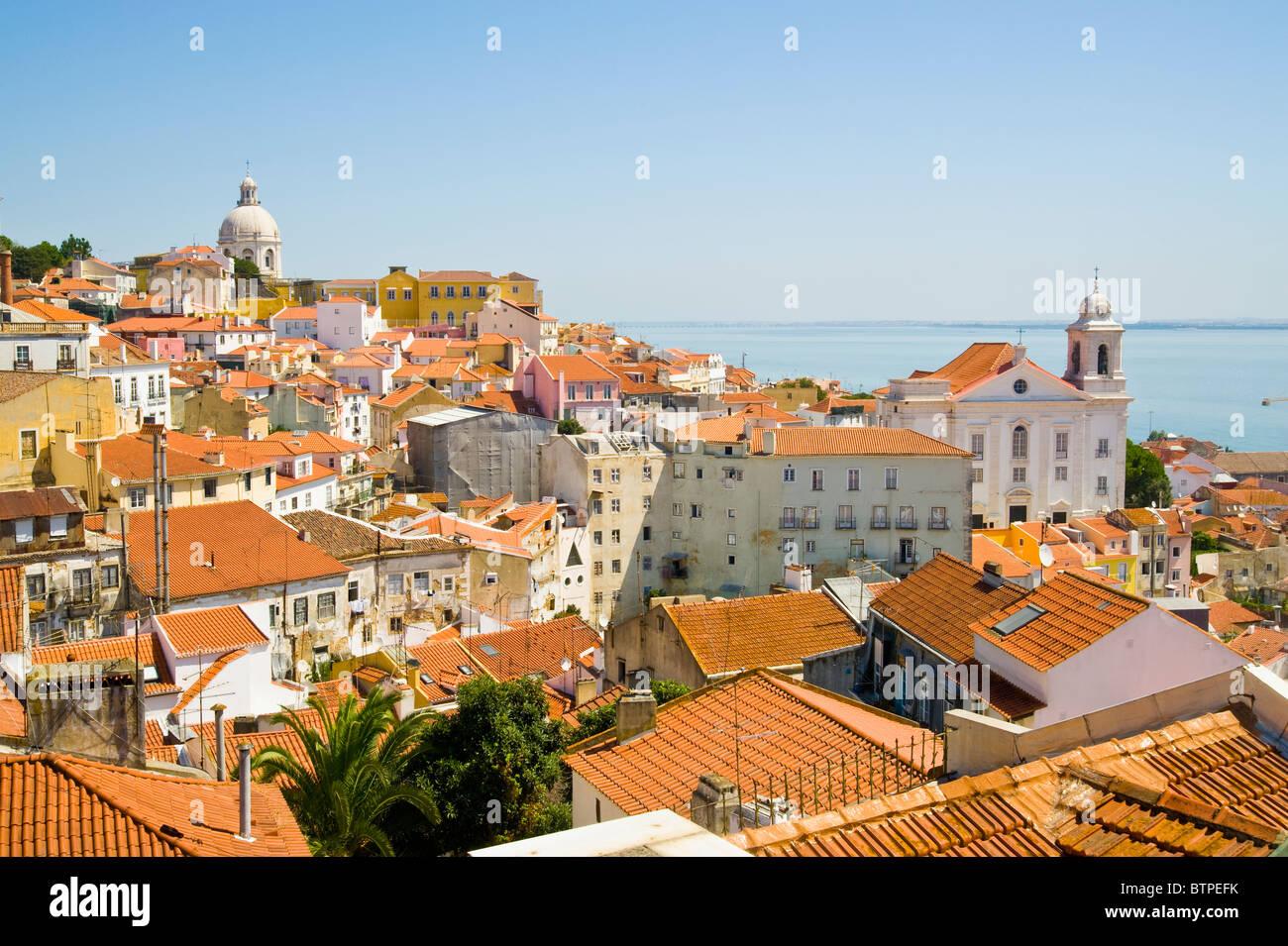 Rooftops, Alfama, Lisbon, Portugal - Stock Image