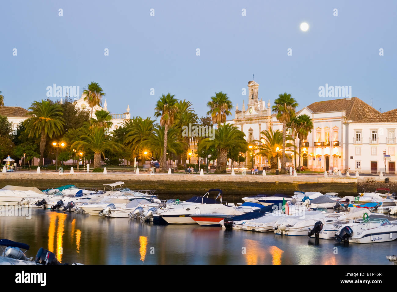 Harbour, at dusk, Faro, Algarve, Portugal - Stock Image