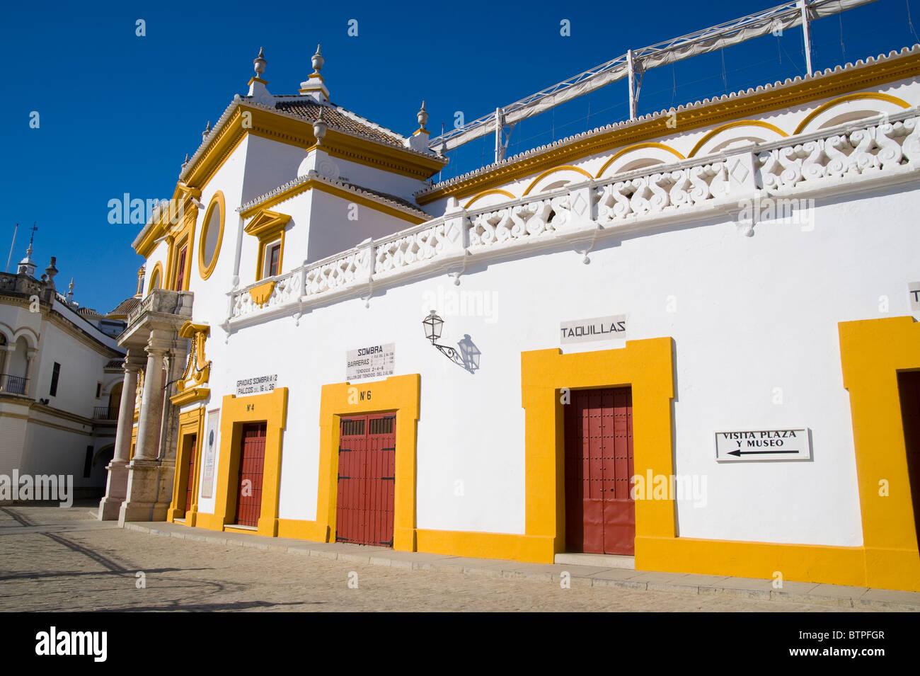 Plaza de Toros, Bullfighting ring, Seville, Andalucia, Spain - Stock Image