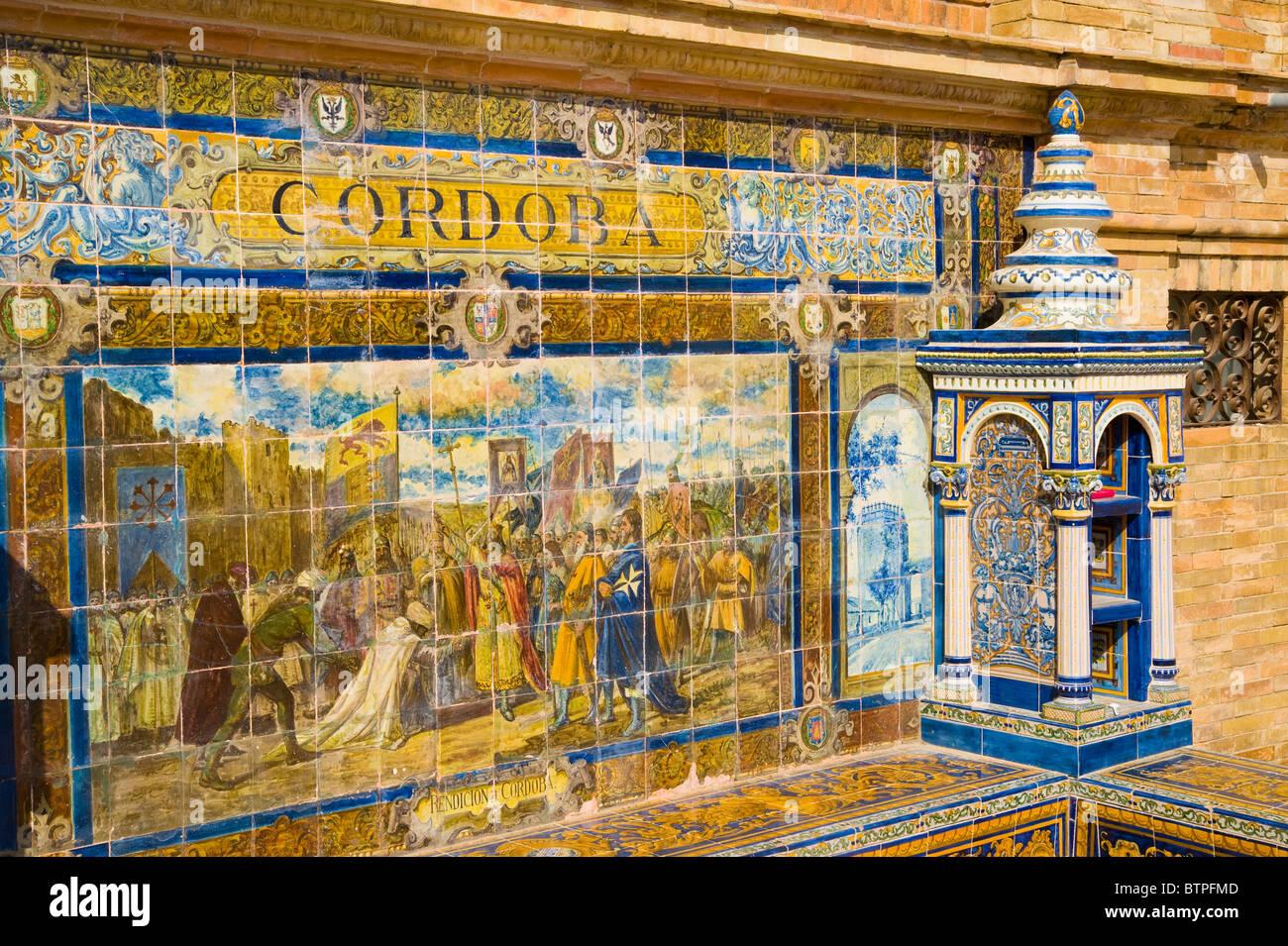 Decorative Tiles, Plaza de Espana, Seville, Andulucia, Spain - Stock Image