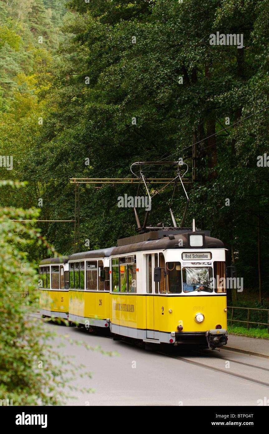 Germany, Saxony, Sachsische Schweiz , Bad Schandau, Tram - Stock Image