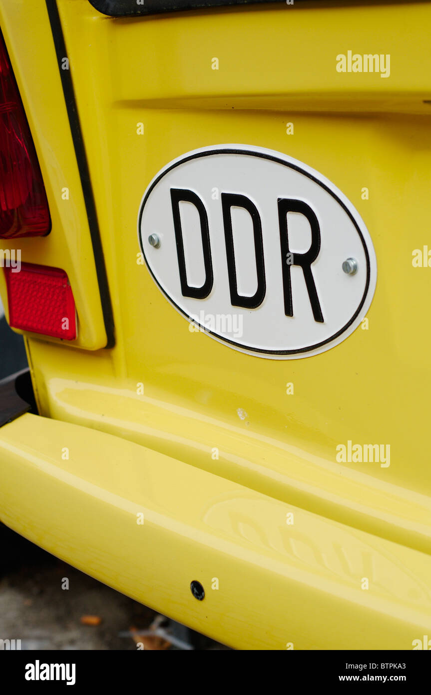 Germany, Tangermunde, DDR sign on trabant car Stock Photo