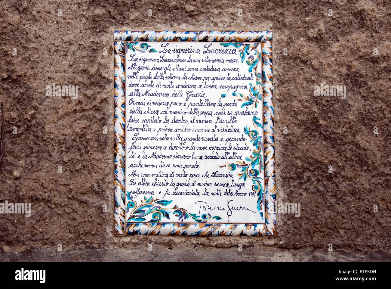 Poetry in a majolica wall tile Pennabilli, Emilia Romagna, Italy - Stock Image