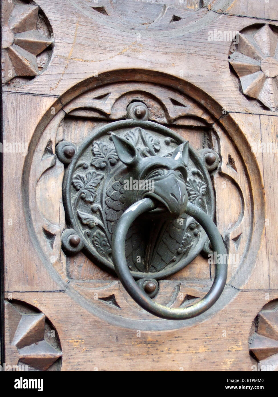 Italy, Trentino Alto Adige, Trento Cathedral with griffin detail on door - Stock Image