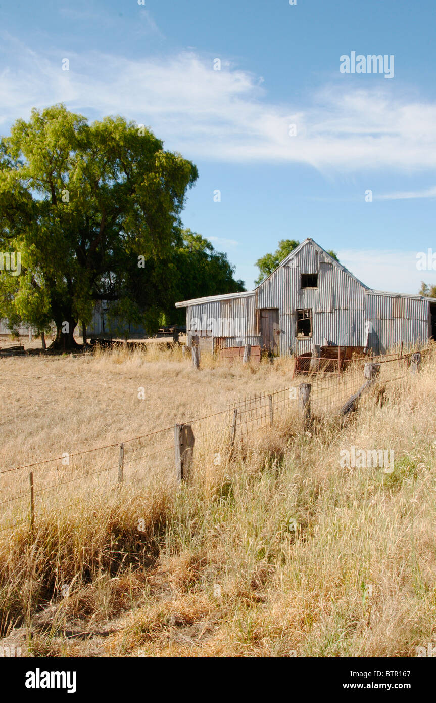 Australia, Central Victoria, Campletown, View of shed on rural landscape - Stock Image