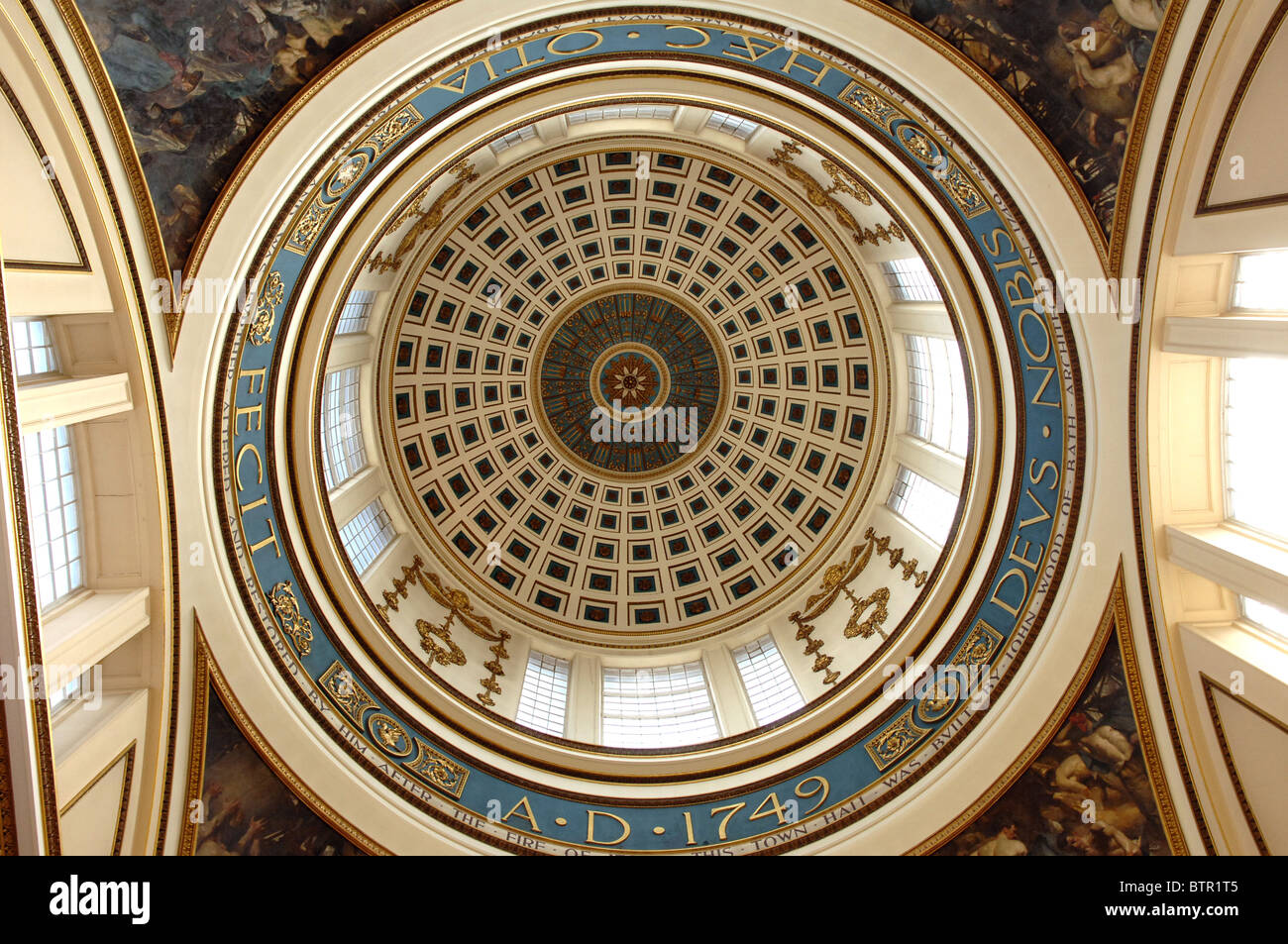 A stunning blue and gold dome in Liverpool Town Hall. - Stock Image