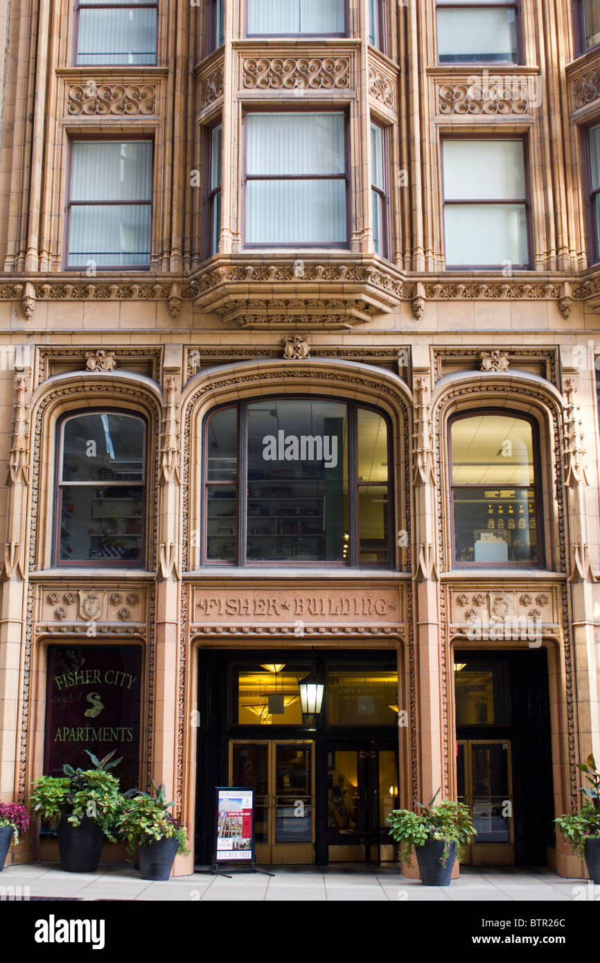 detail of facade, Fisher Building, 343 South Dearborn Street, Chicago, Illinois, USA - Stock Image