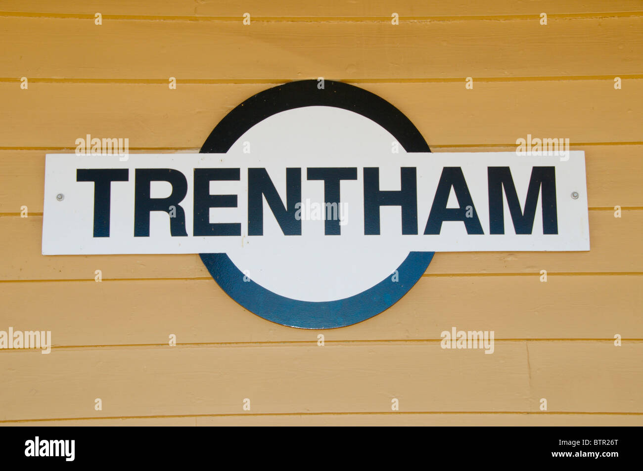 Australia, Central Victoria, Trentham station sign - Stock Image