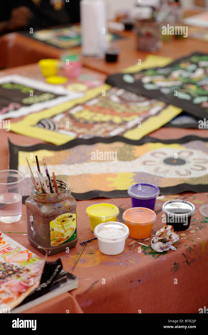 Australia, Watercolour paints and paintings in art studio - Stock Image