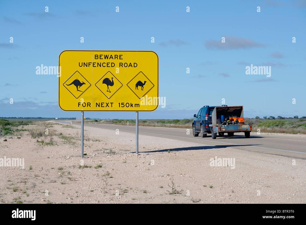 Australia, Animal crossing sign on roadside - Stock Image
