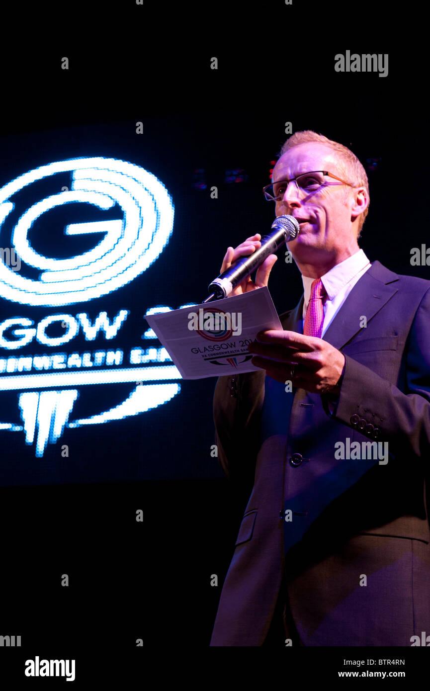 Bryan Burnett at Commonwealth Games flag handover ceremony in Glasgow 14th October 2010 - Stock Image