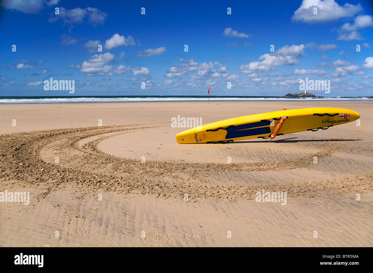 Life saver on beach in cornwall - Stock Image