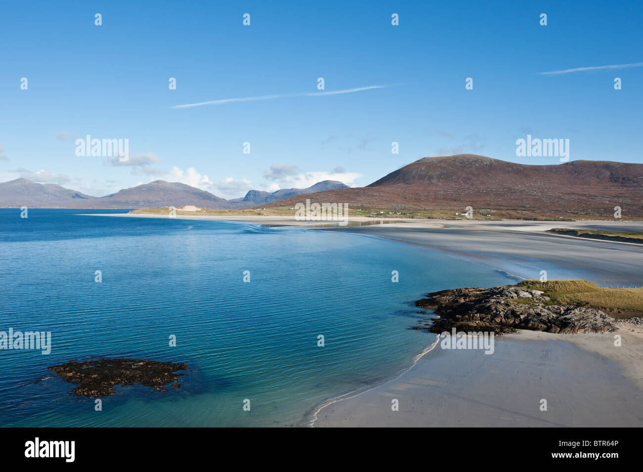 View of Seilebost and Luskentyre beaches, Isle of Harris, Outer Hebrides, Scotland - Stock Image
