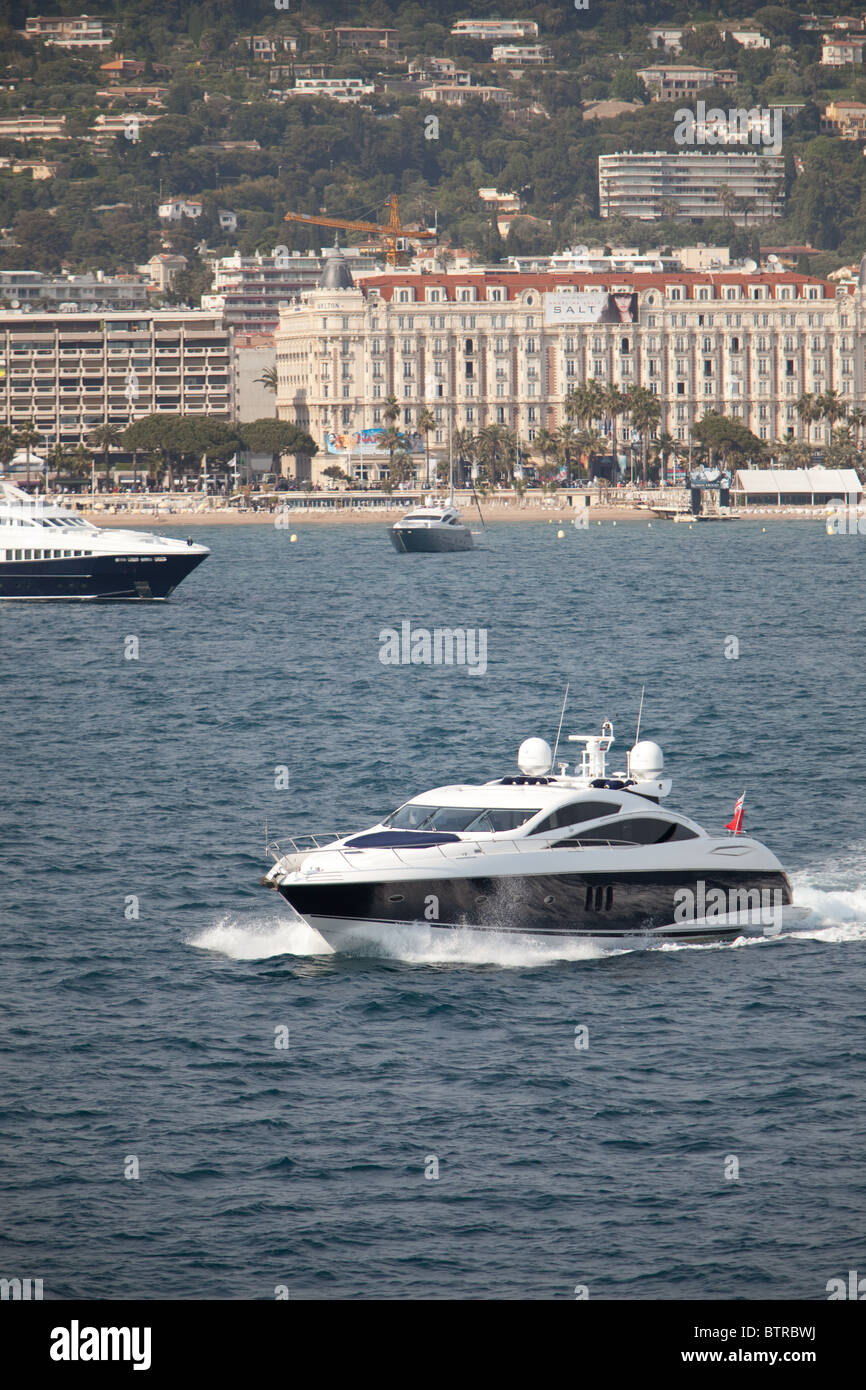 private and charter yachts attending Cannes Film Festival France. - Stock Image