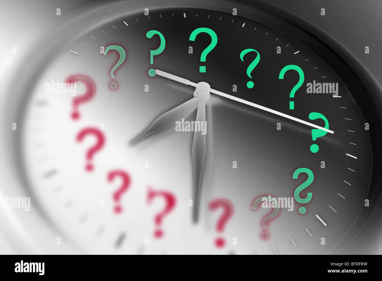 Clock and Question Marks - Stock Image