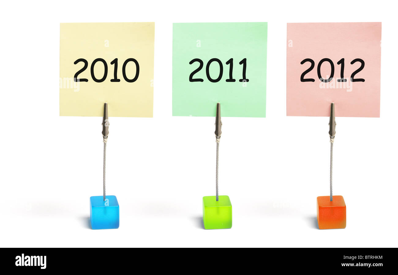 Memo Clips with Years - Stock Image