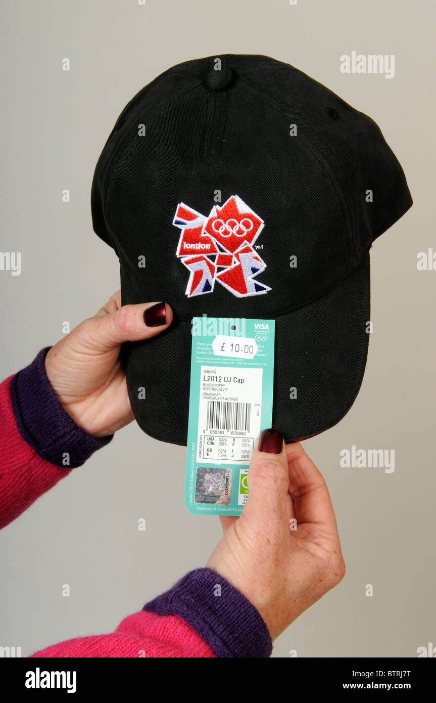 Price tag on an official souvenir cap for the London 2012 Olympics - Stock Image
