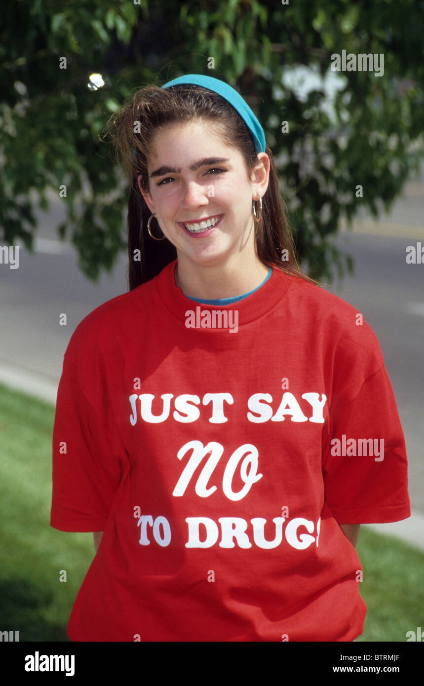White girl  teen female Just Say No to Drugs shirt red wear support fight slogan fight resist program campaign law - Stock Image