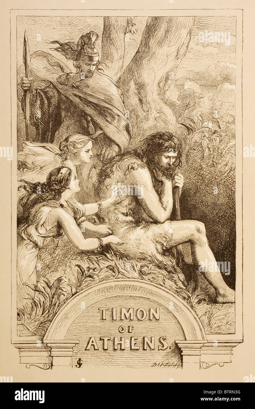 Illustration by Sir John Gilbert for Timon of Athens by William Shakespeare. - Stock Image