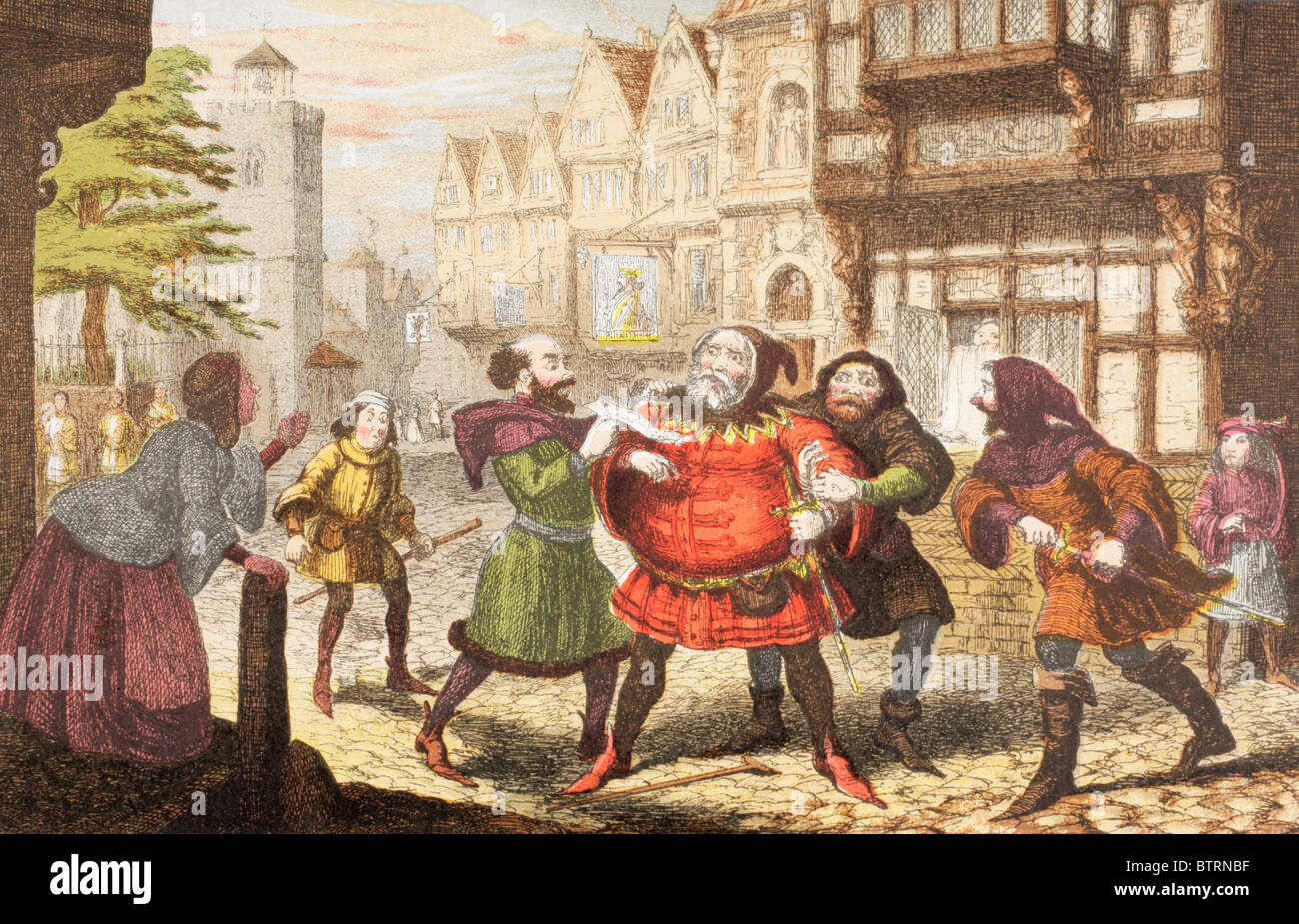 Mrs Quickly has Sir John Falstaff arrested in Henry IV, Part 2 by William Shakespeare. - Stock Image
