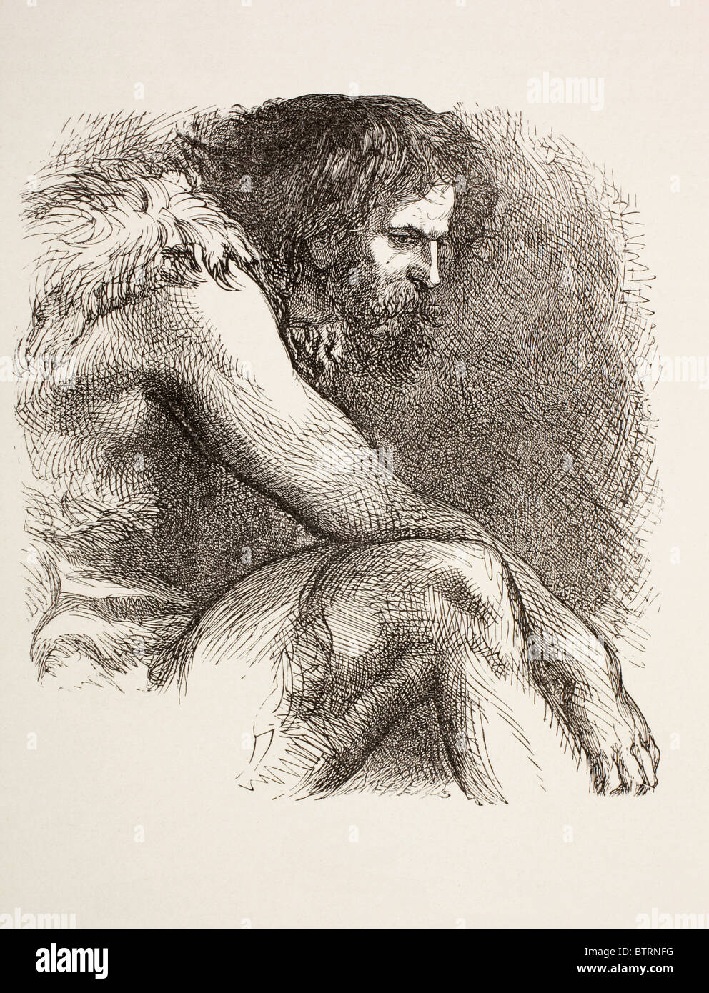 Timon in his cave from Timon of Athens by William Shakespeare. Prehistoric man, bearded and dressed in animal skins. - Stock Image