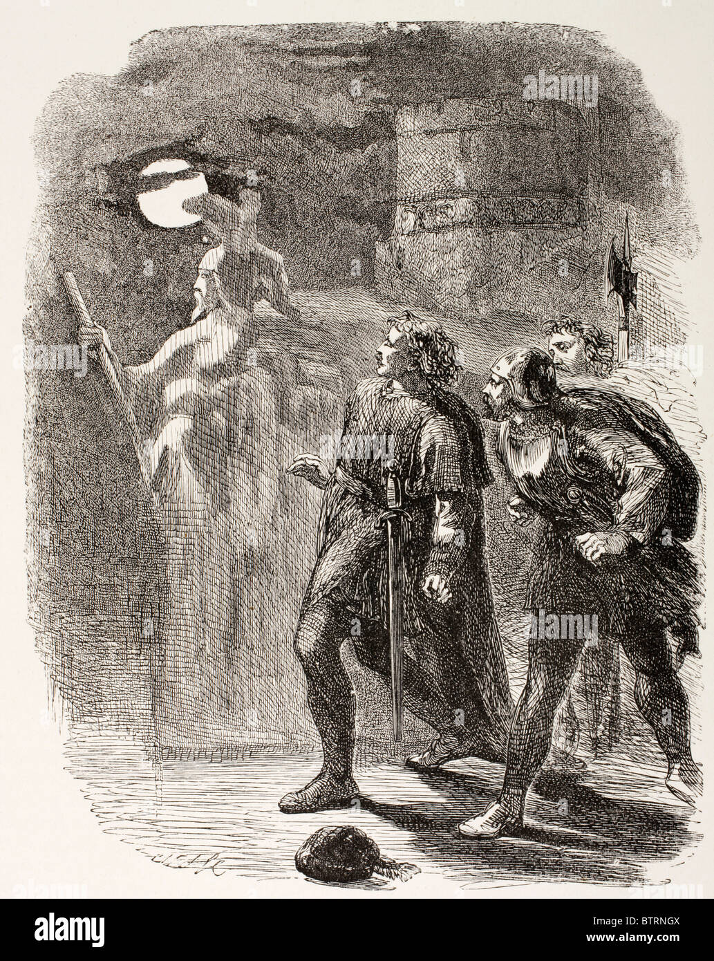 Illustration from Hamlet by William Shakespeare. Hamlet, Horatio and Marcellus see the Ghost. - Stock Image