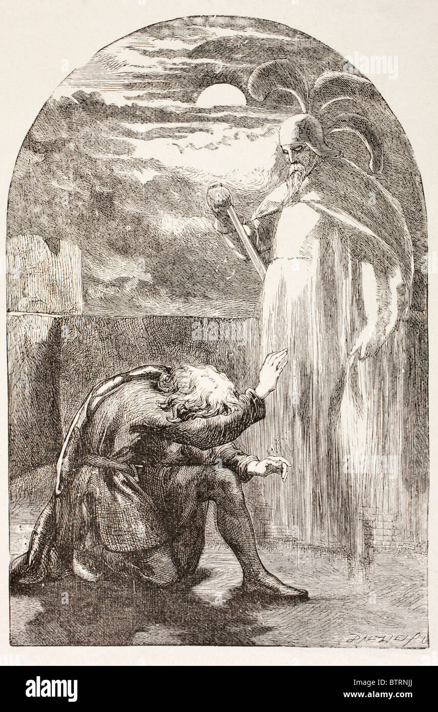 Illustration from Hamlet by William Shakespeare. Hamlet sees the Ghost, the spirit of his father. - Stock Image