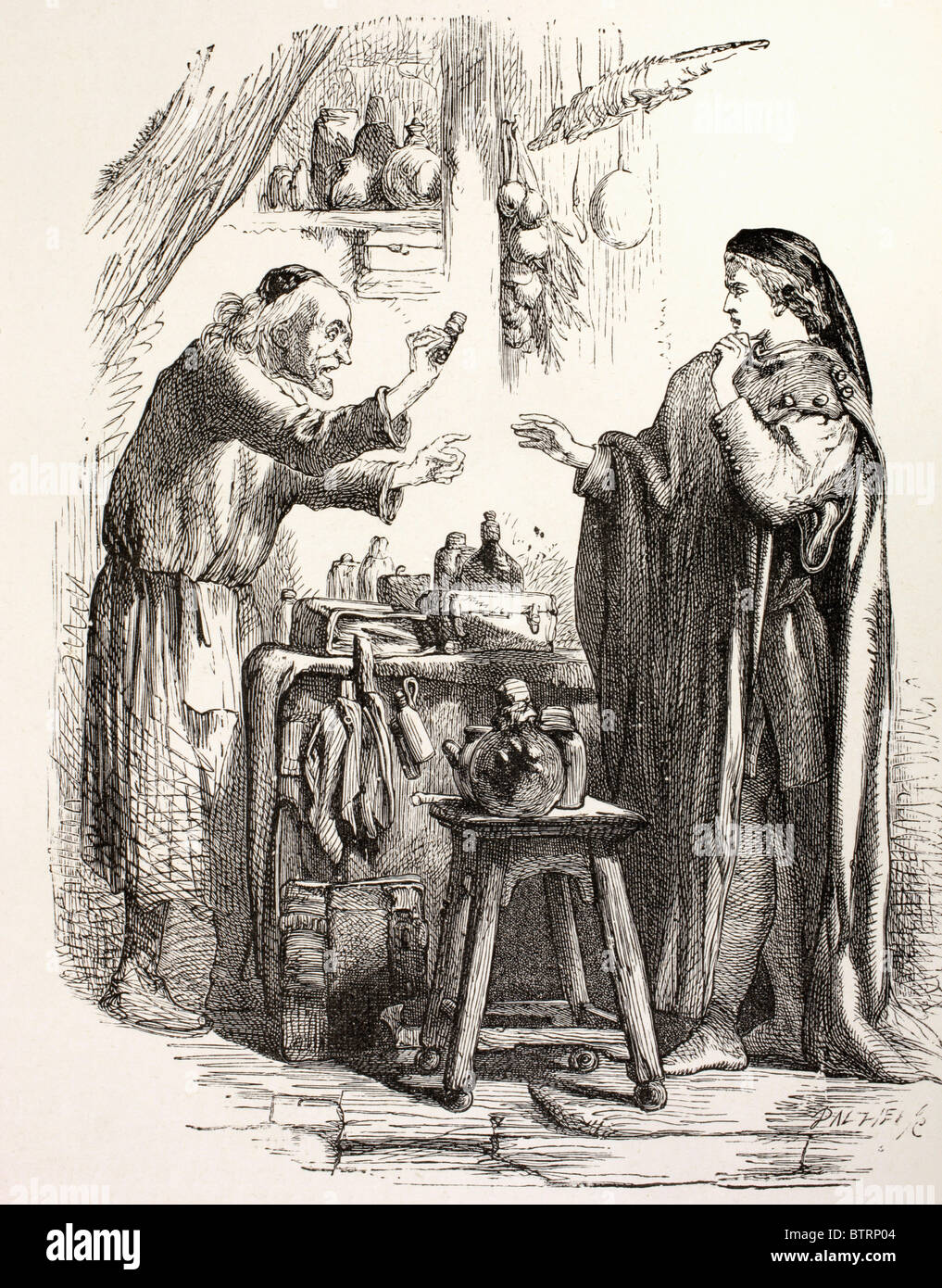 From Romeo and Juliet by William Shakespeare. Romeo buys poison from the apothecary. Stock Photo