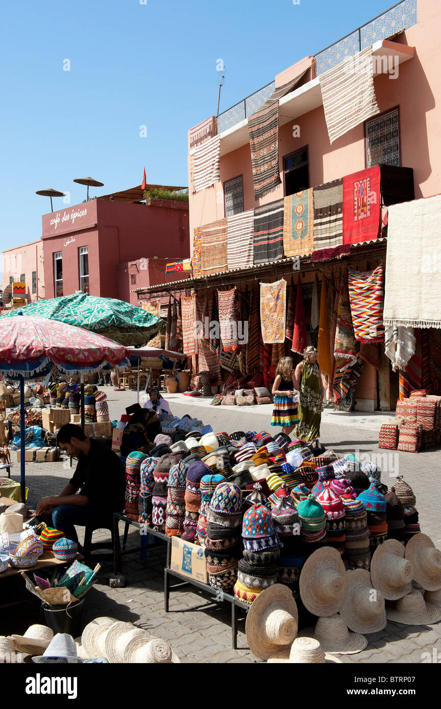 Hats and Rugs Medina Souk Marrakech Morocco North Africa - Stock Image