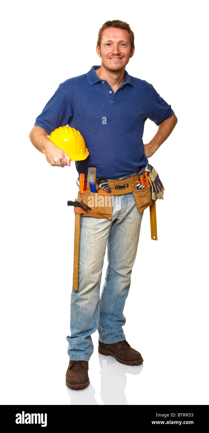 portrait of caucasian standing handyman on white background - Stock Image