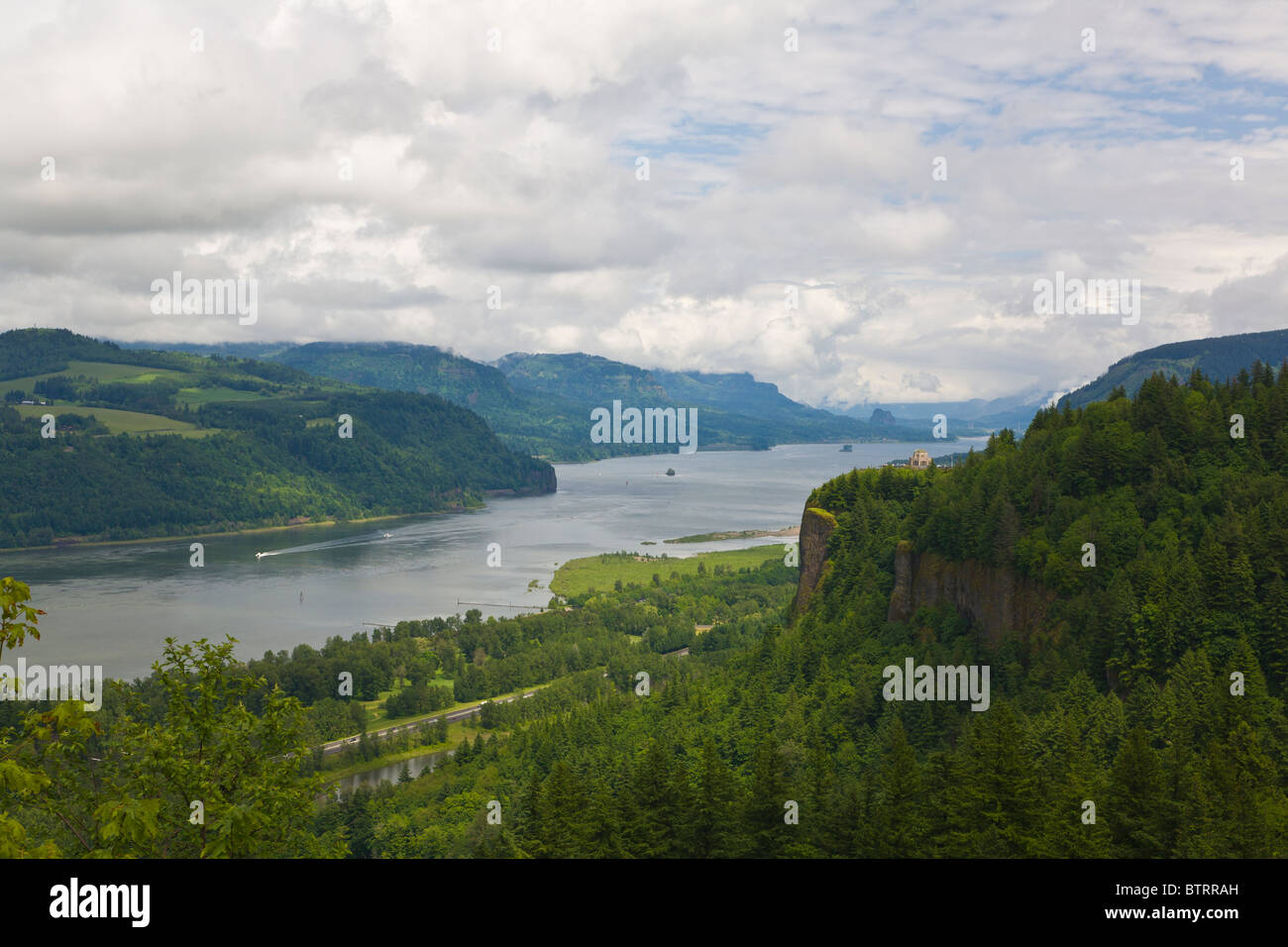 Overall view from above on the historic Columbia River Highway of the Columbia River Gorge National Scenic Area - Stock Image