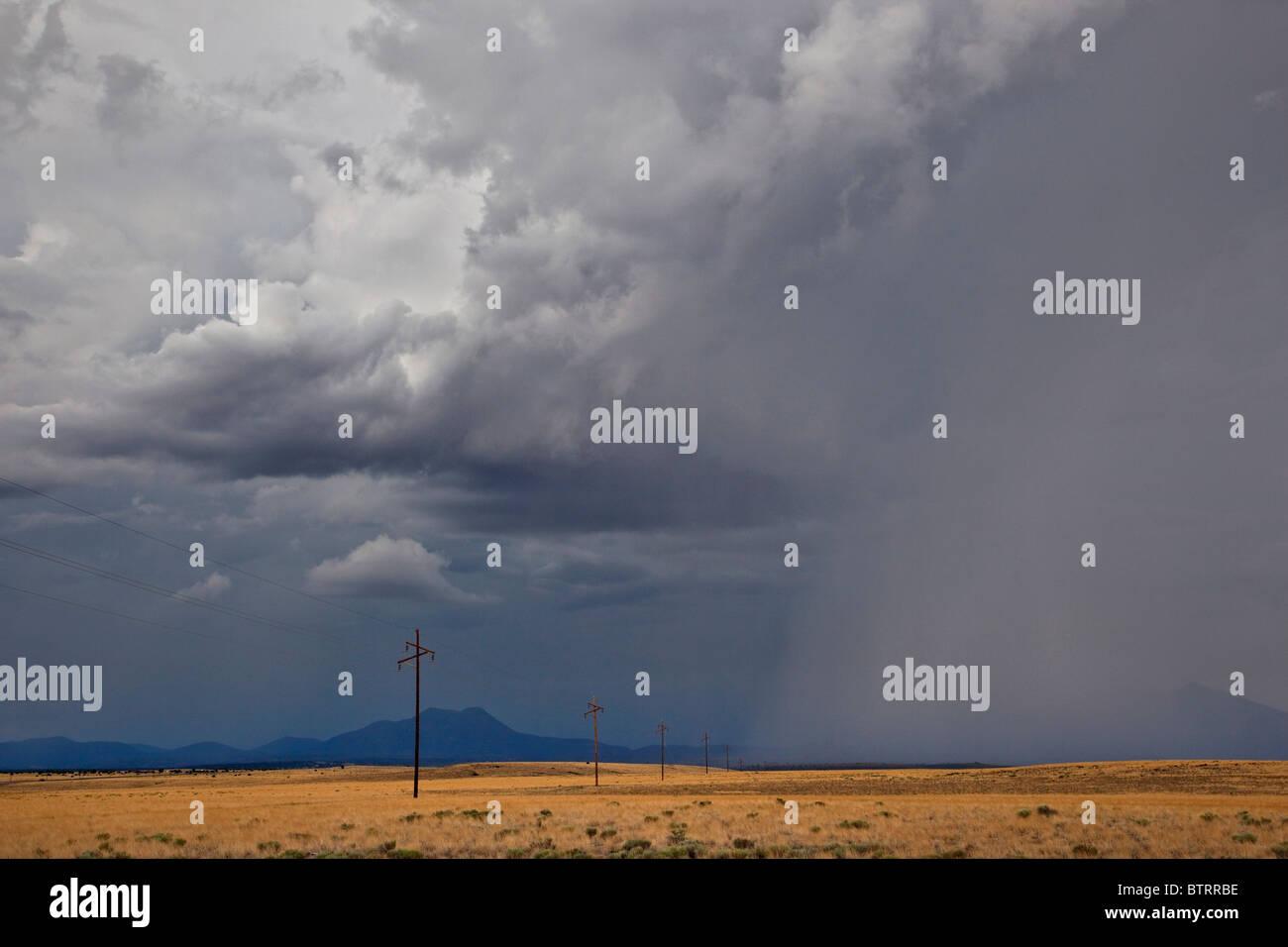 Summer thunderstorm over grasslands near Highway 89 at Gray Mountain, Coconino County, Arizona, USA - Stock Image