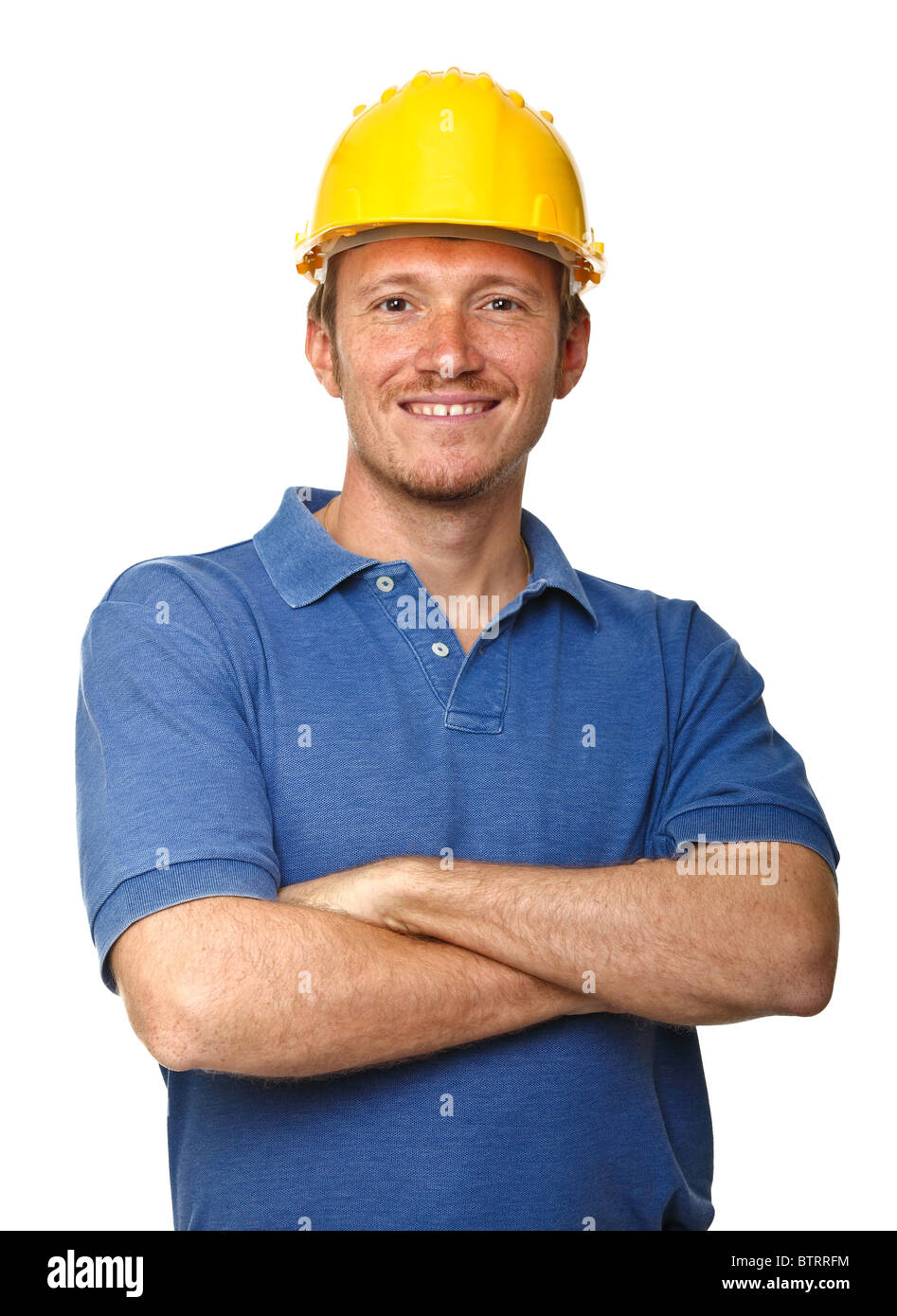 smiling and confident manual worker portrait isolated on white background - Stock Image