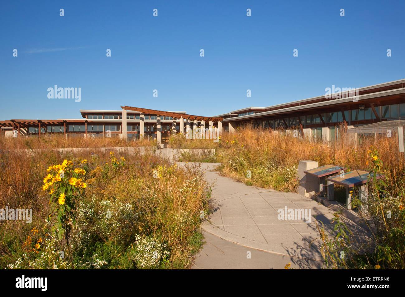 Prairie Learning Center at Neal Smith National Wildlife Refuge, a tallgrass prairie restoration, near Prairie City, - Stock Image
