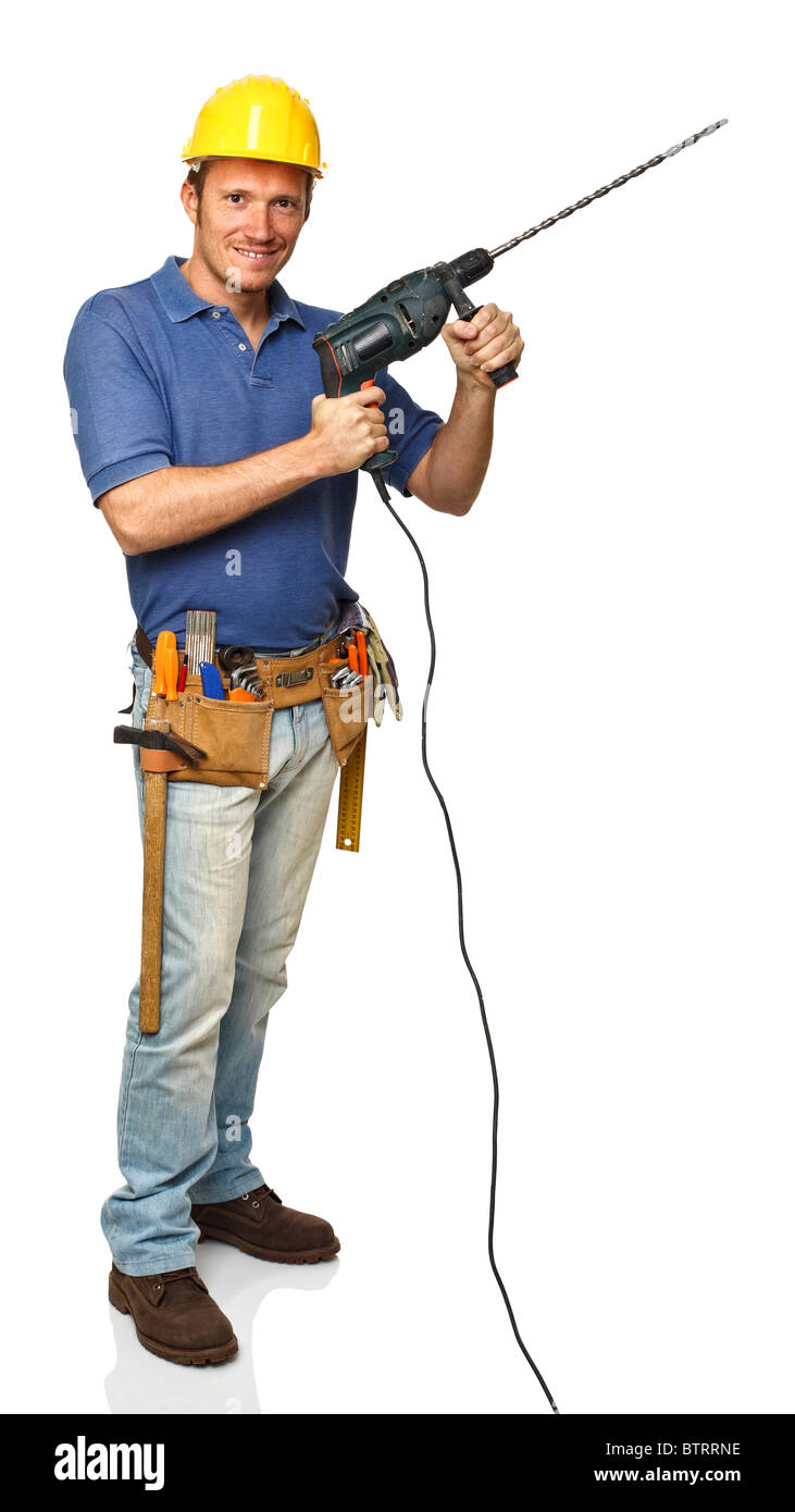 manual worker holding electric drill tool on white background - Stock Image