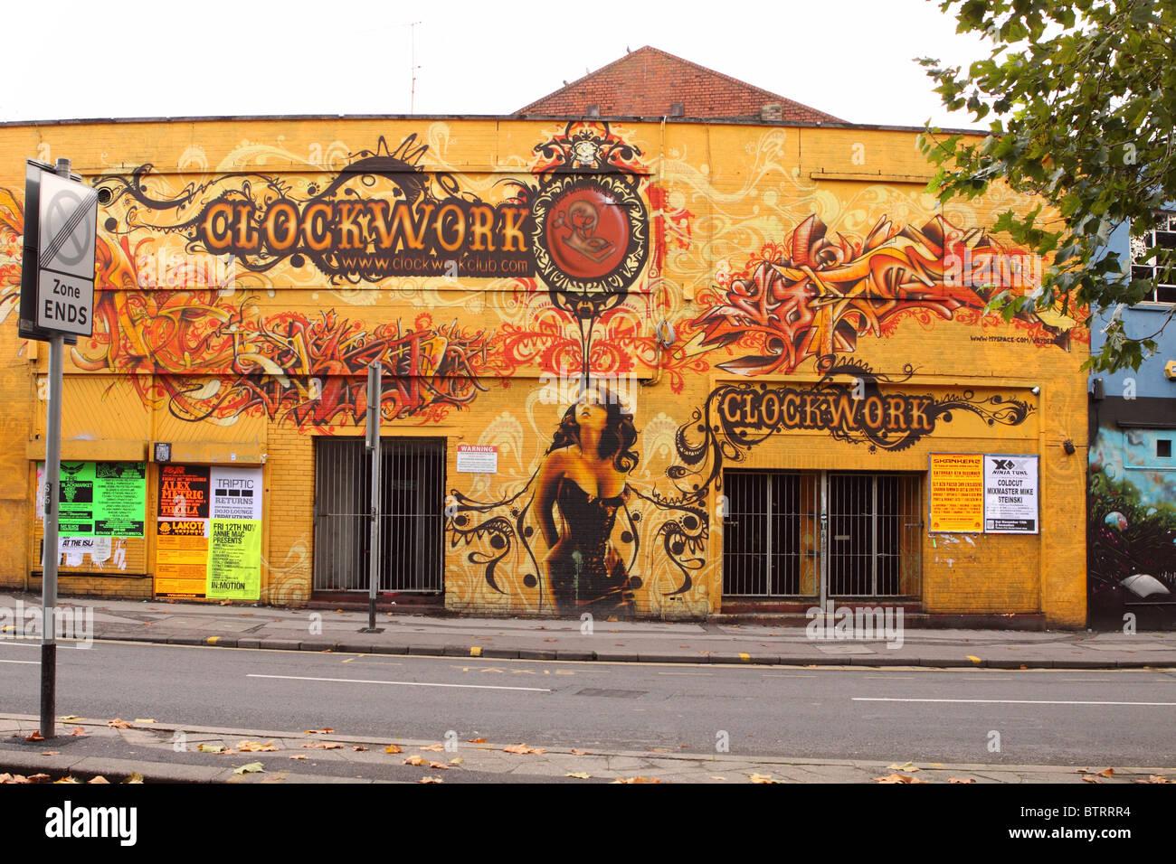 The Clockwork Club in the Stokes Croft area of Bristol a live music venue club - Stock Image