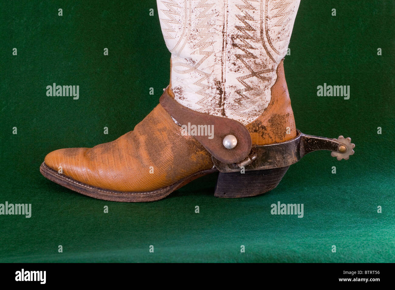 A well worn pair of cowboy boots with spurs. - Stock Image