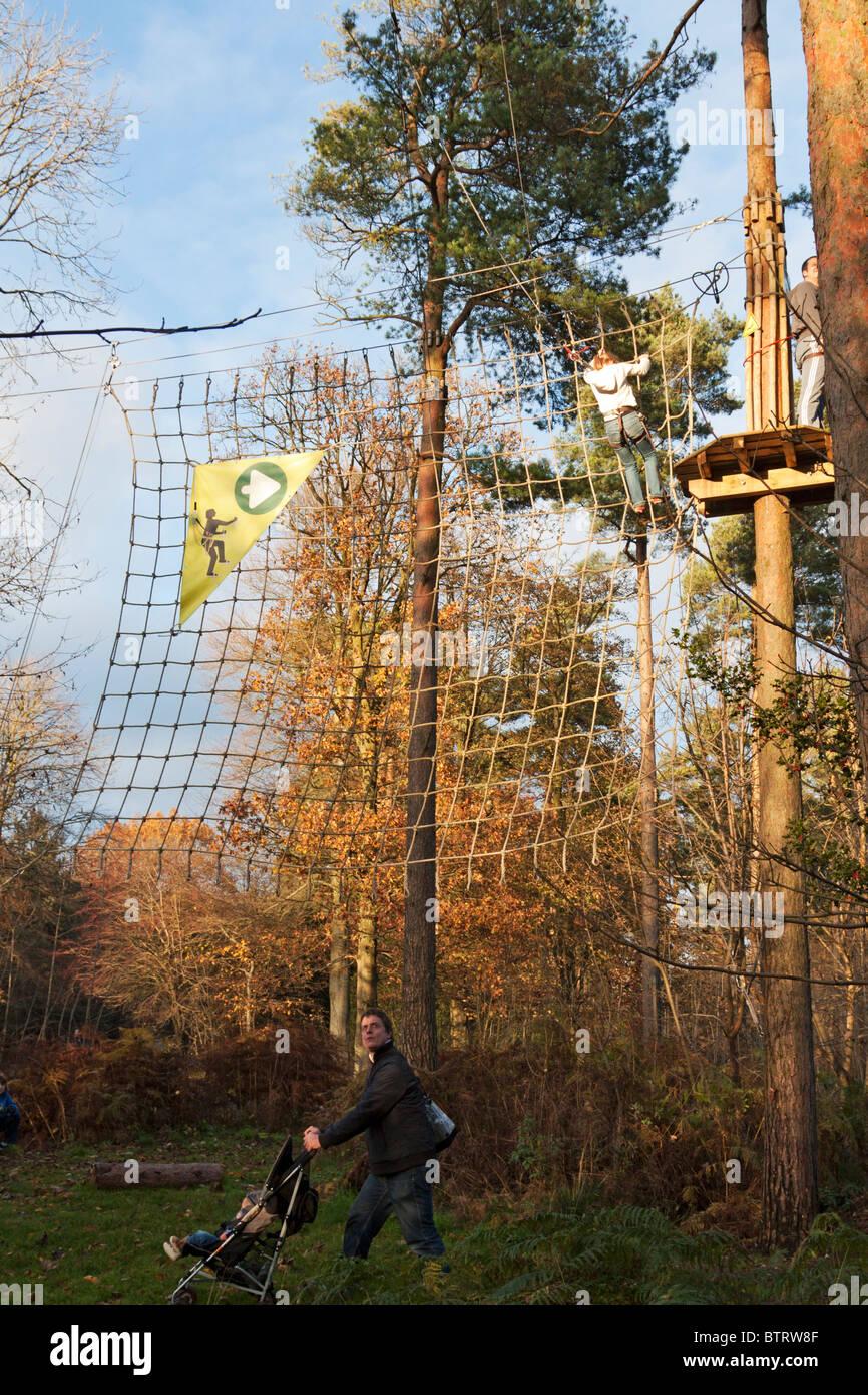 Go Ape Outdoor Pursuits Course - Wendover Woods - Buckinghamshire. - Stock Image