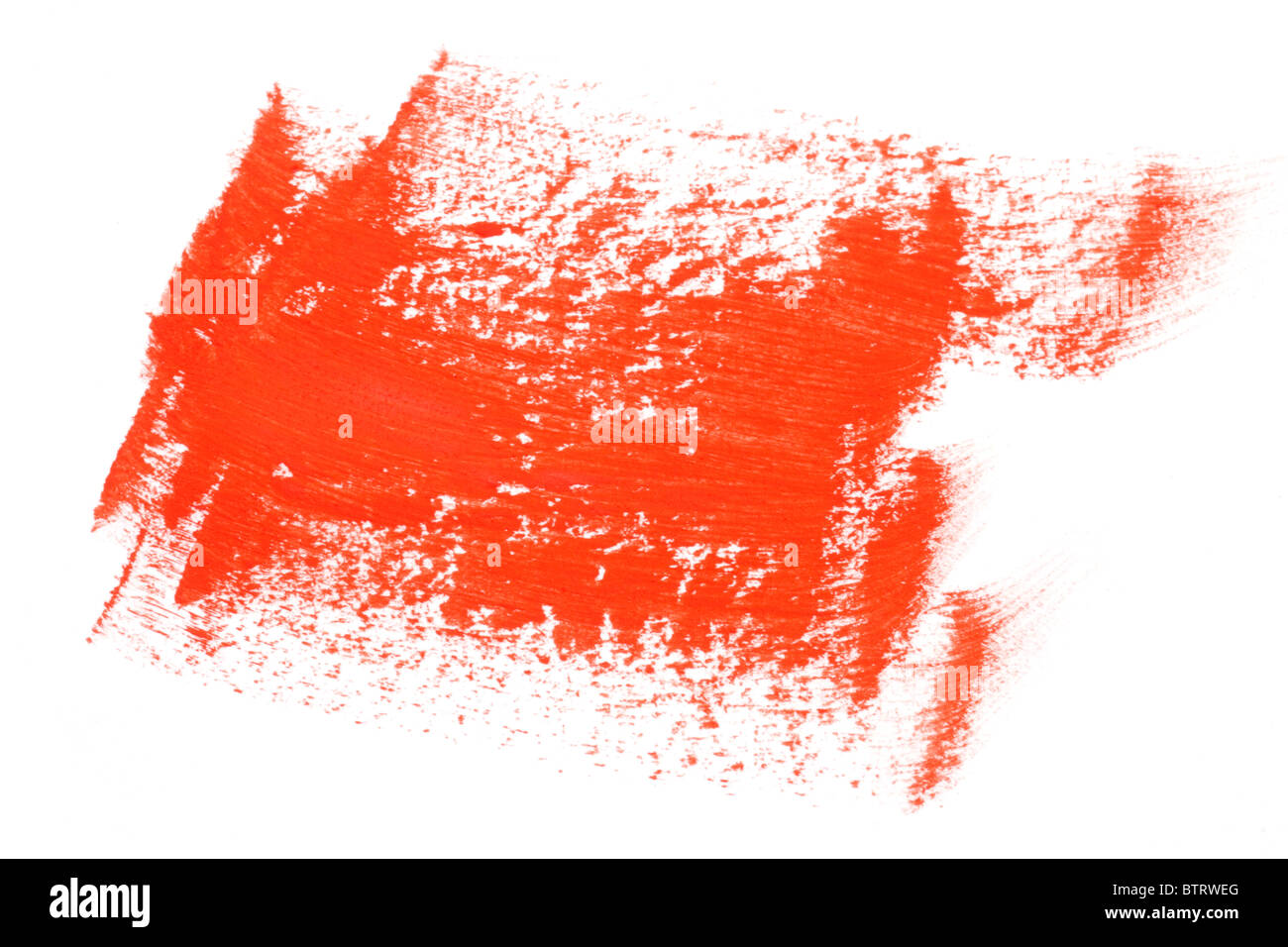 red water color paint brush strokes on white background stock photo