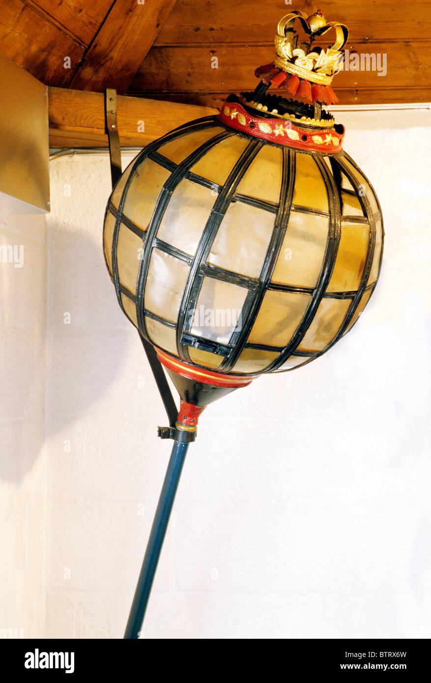 Chichester museum, Municipal Moon Mayor's Lantern, 17th century English oil mayoral lanterns Sussex England - Stock Image