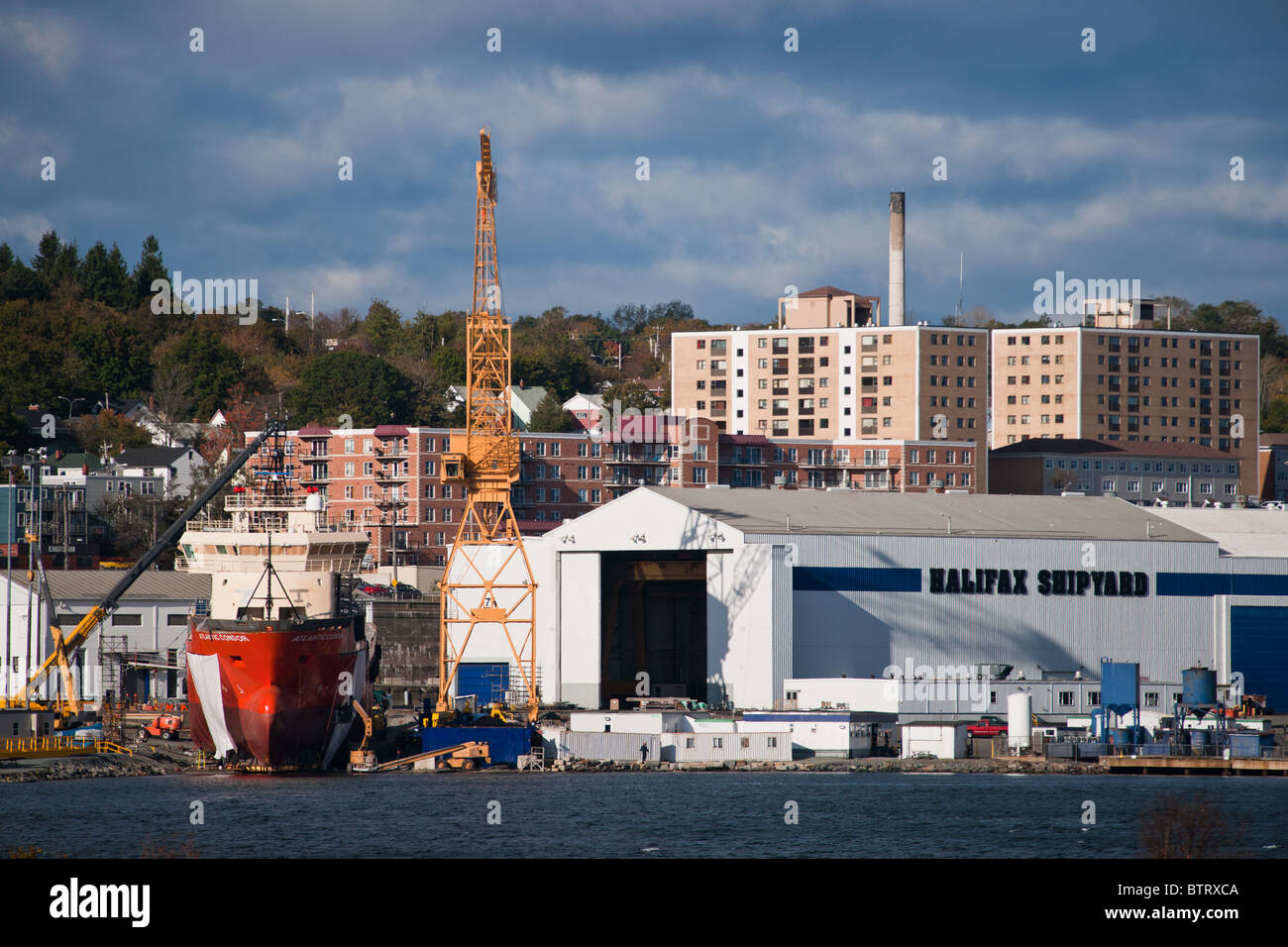 The rig supplier Atlantic Condor sits on the ways waiting to be launched at the Halifax Shipyard in Nova Scotia, - Stock Image