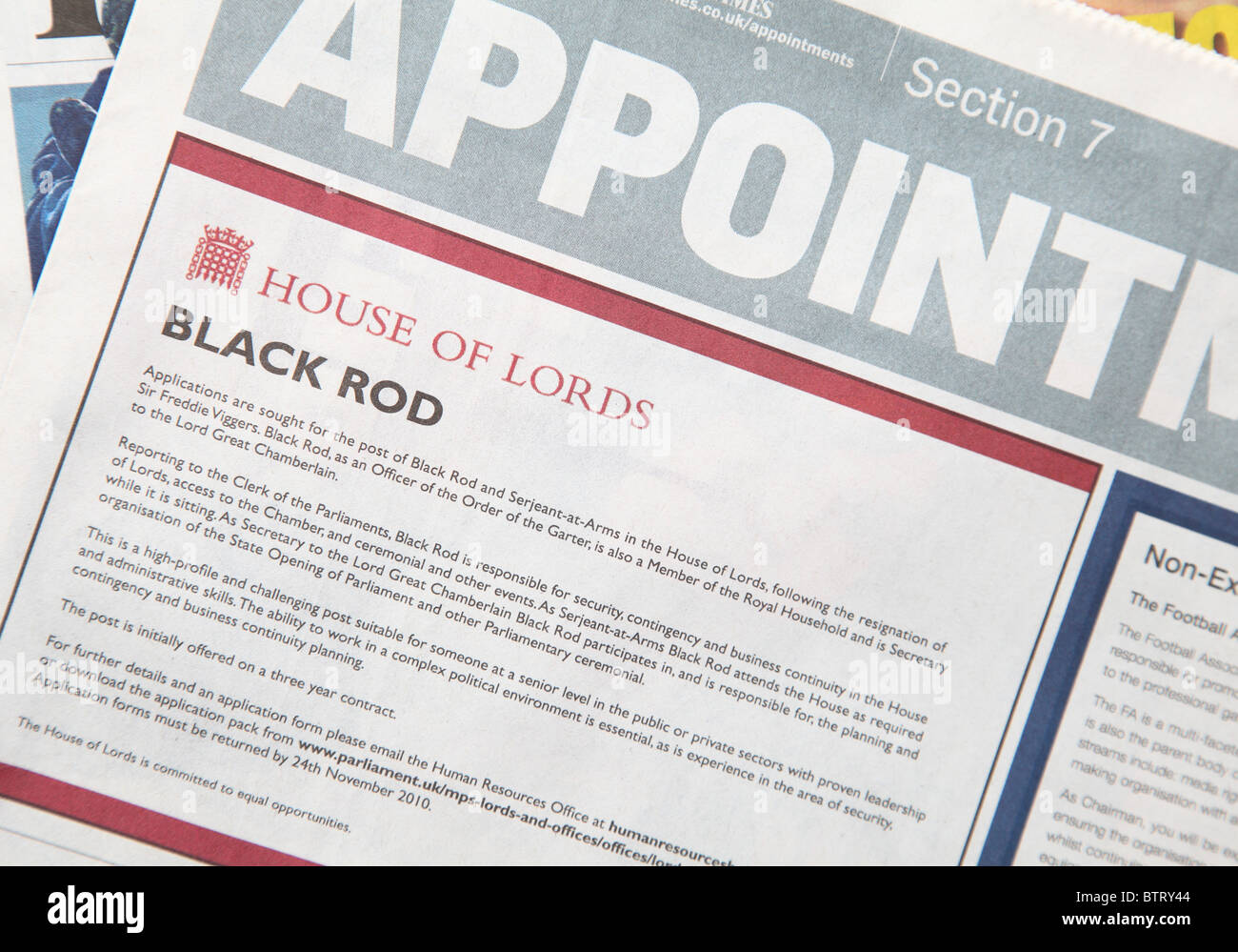 An advertisement in the appointments section of the Times newspaper. - Stock Image