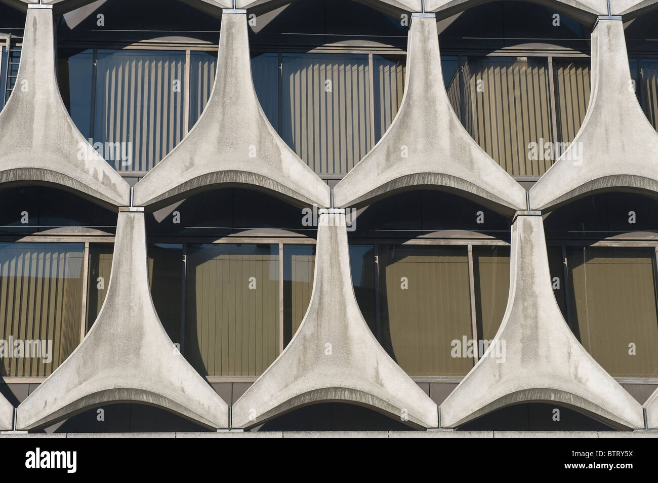 Concrete modern façade of a building, Brussels, Brabant, Belgium - Stock Image