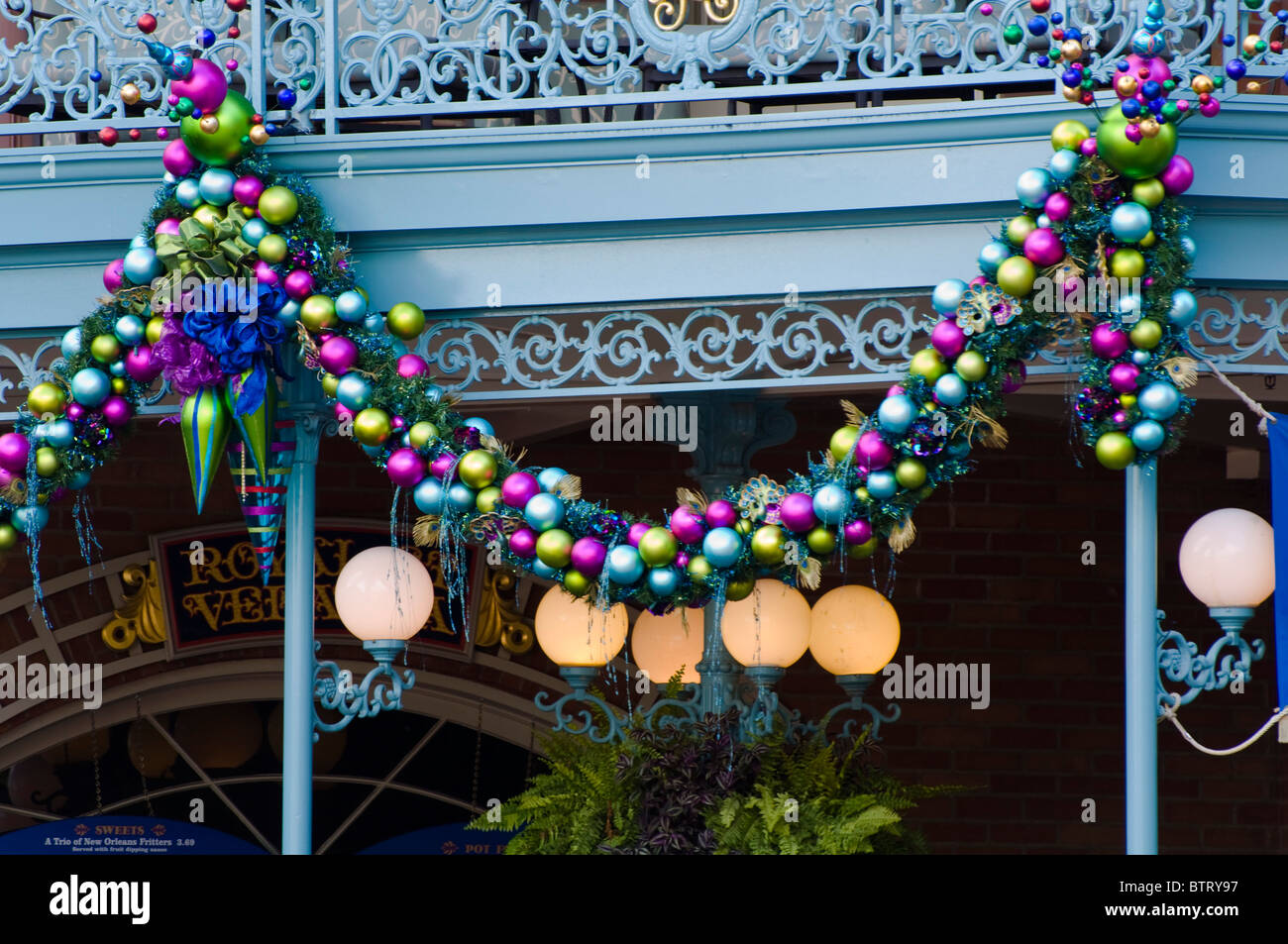 christmas decoration at disneyland amusement park california usa stock image