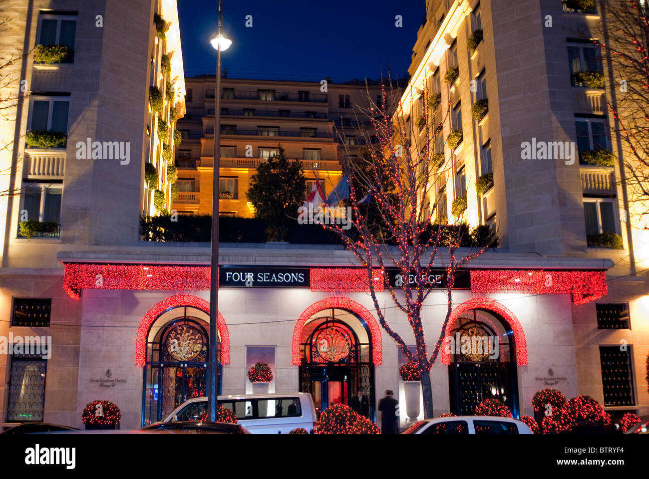 Paris France Luxury Hotel  George V   FOur Seasons  Front Building with Christmas Lighting at Night & Paris France Luxury Hotel